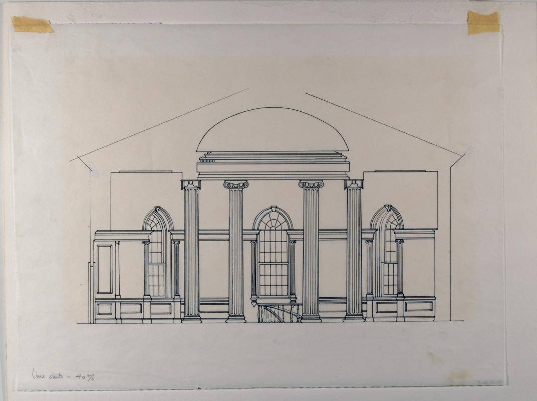 "Interior of Rotunda, Lawrence Hall (Preparatory drawing for the cover of ""Handbook of the Collection"")"
