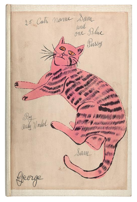 """25 Cats Name Sam and One Blue Pussy""  [New York, 1954]. (Printed by Seymour Berlin, written by Charles Lisanby).  Bound artist's book with 36 pages and 18 plates [including cover], litho-offset prints on paper with hand coloring"