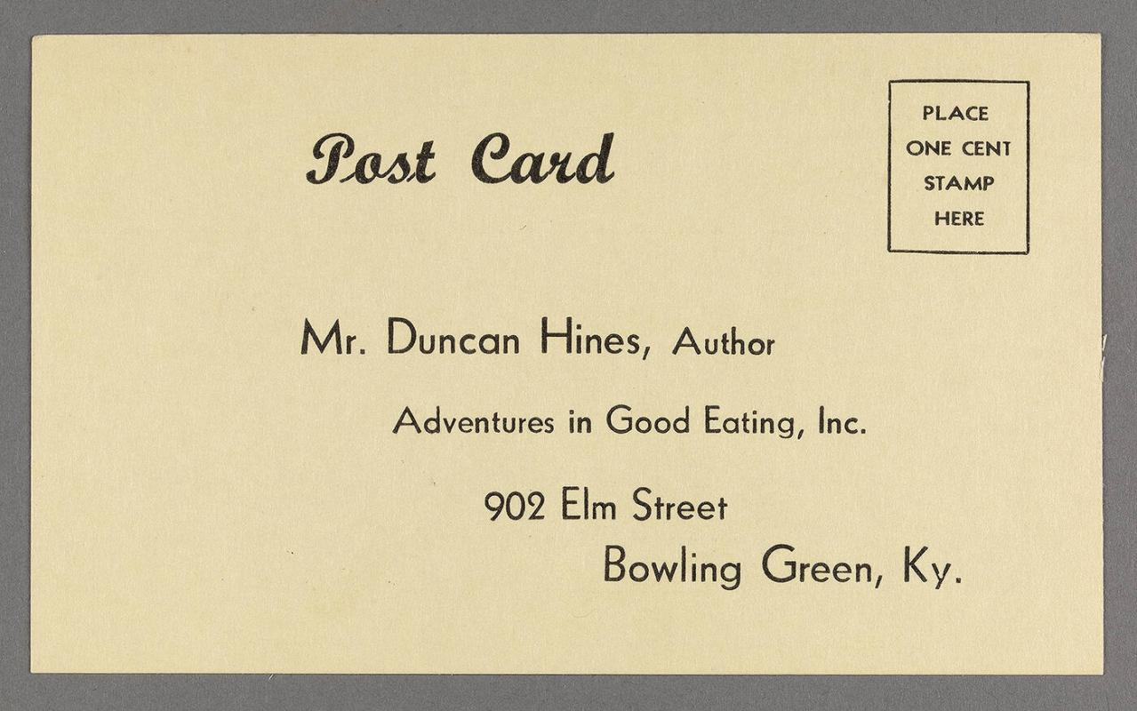 Postcard for suggesting restaurants self-addressed to Duncan Hines