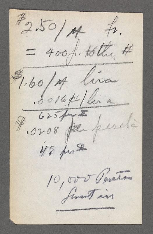 Note written in pencil of monetary equations