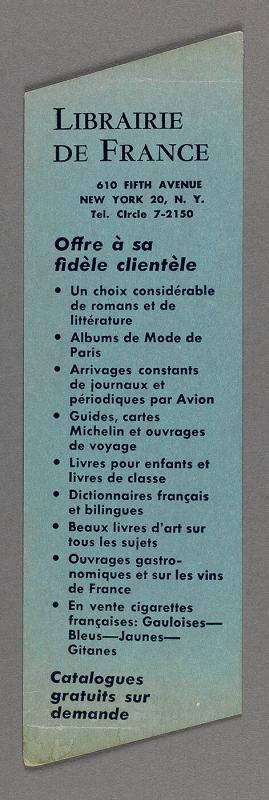 Bookmark from Librarie de France, 610 Fifth Avenue New York 20, N.Y.