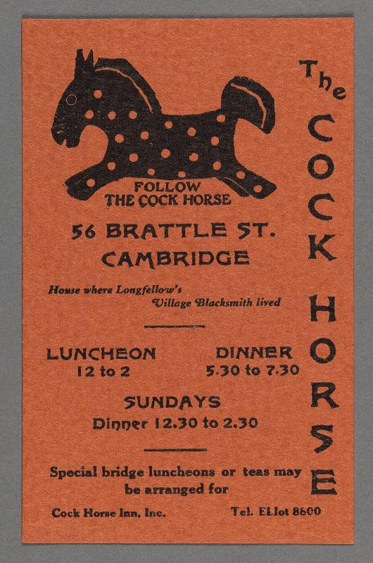 "Advertisement card for ""The Cock Horse"", 55 Brattle St., Cambridge"
