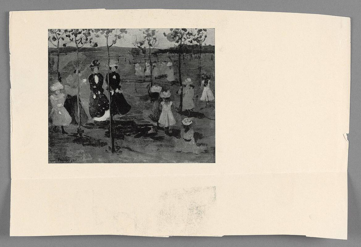 Black and white print of a Maurice Prendergast work
