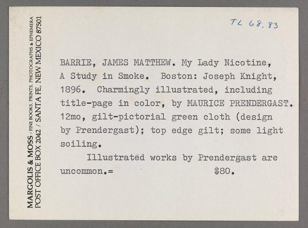 "Card from Margolis & Moss, Santa Fe, New Mexico, describing ""My Lady Nicotine, A Study in Smoke"""