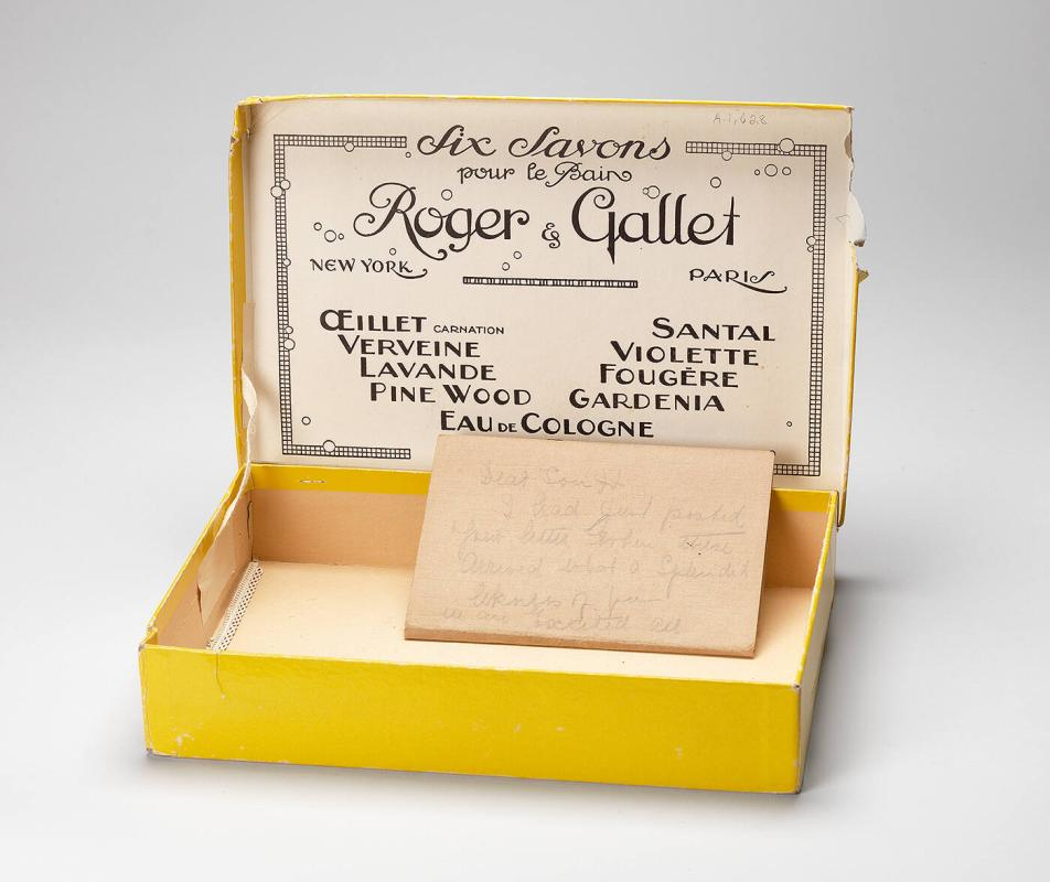 Box belonging to Eugenie Prendergast from Roger and Gallet (Six Saxons) containing a note in pencil