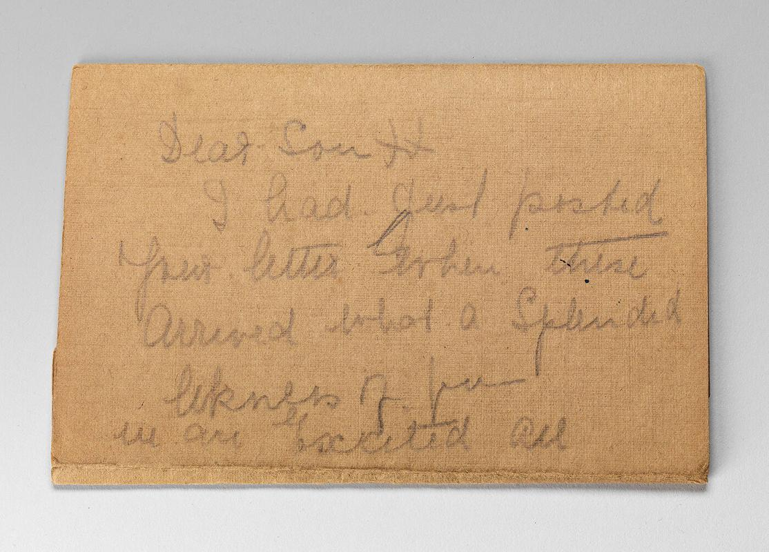 Note inside of box belonging to Eugenie Prendergast from Roger and Gallet (Six Saxons)