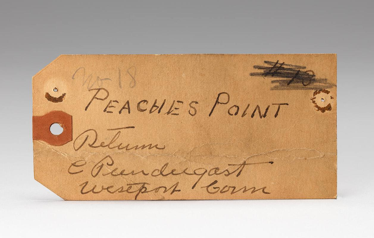"Charles Prendergast  mailing tag labelled ""Peaches Point"" found inside cedar cigar box"