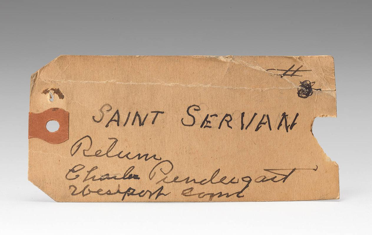 "Charles Prendergast mailing tag labelled ""Saint Servan"" found inside cedar cigar box"