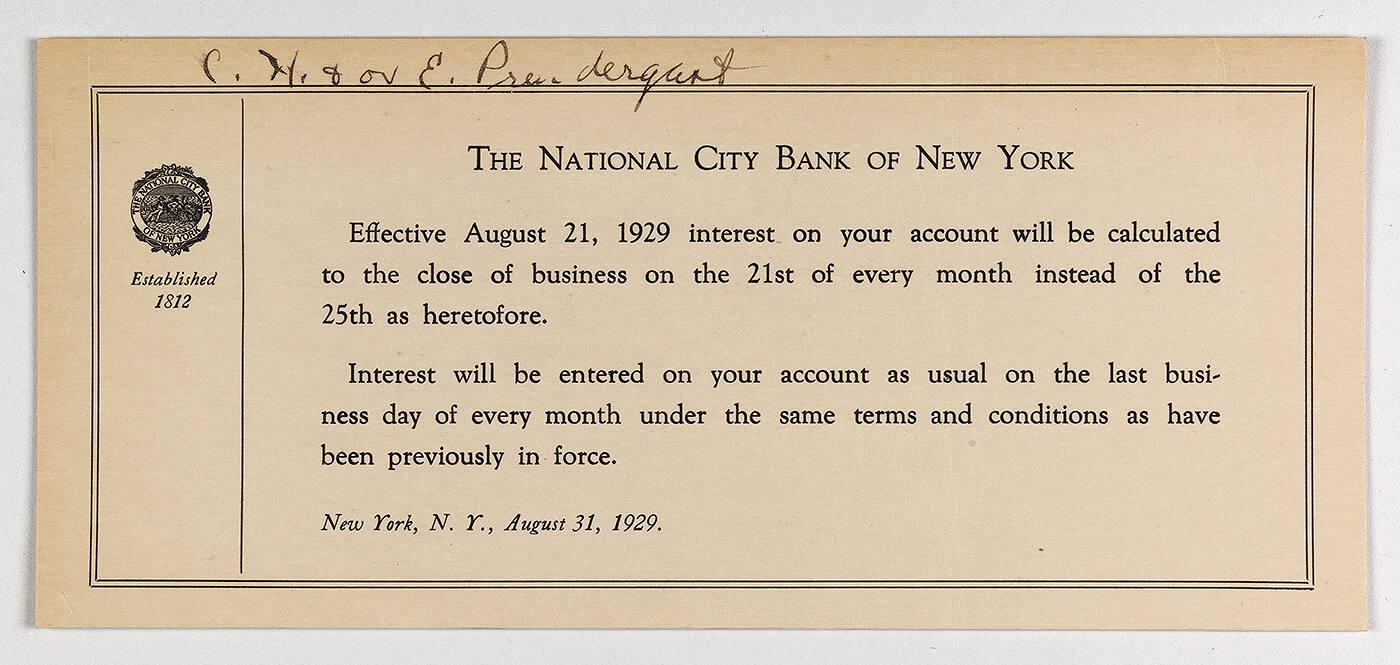 Note from The National City Bank of New York