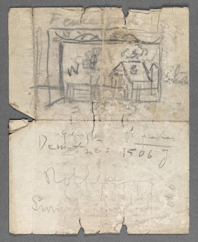 Charles Prendergast sketch and notes on stationery of H. Dudley Murphy