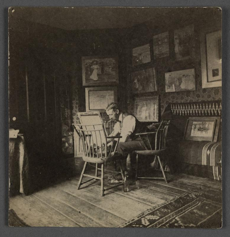 Maurice Prendergast working in studio