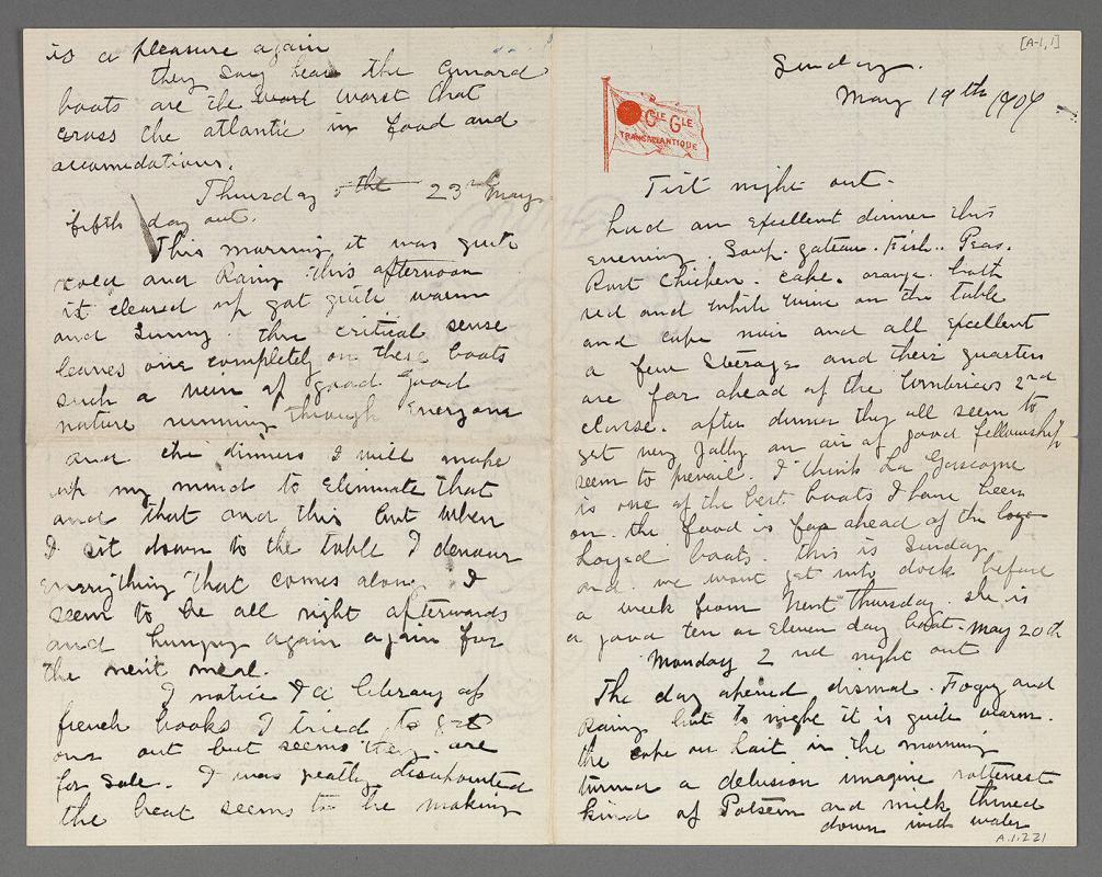 Letter from Maurice Brazil Prendergast to Charles Prendergast shipboard (en route to France)