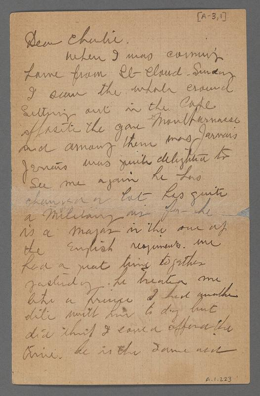 Letter from Maurice Prendergast to Charles Prendergast, Paris