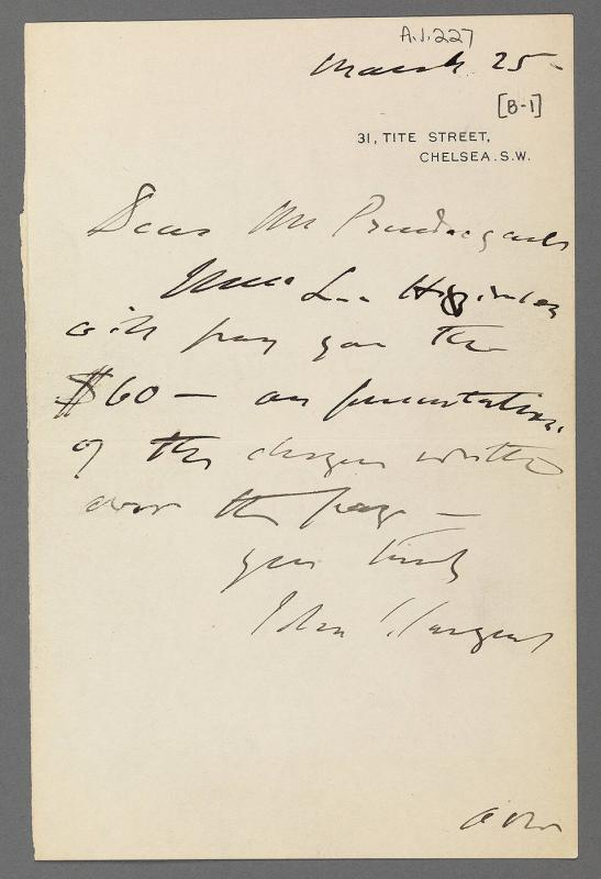 Letter from John Singer Sargent to Charles Prendergast (unknown location)