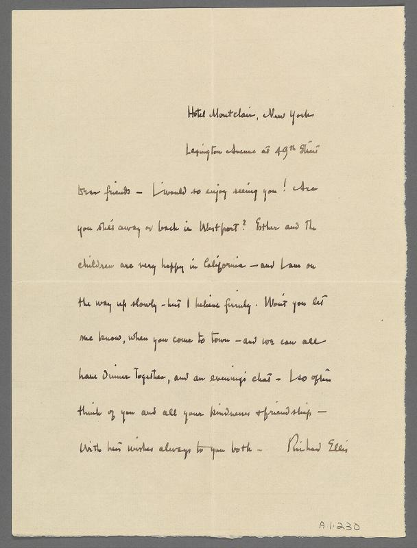 Letter from Richard W. Ellis to Mr. and Mrs. Charles Prendergast (Hotel Montclair, New York)