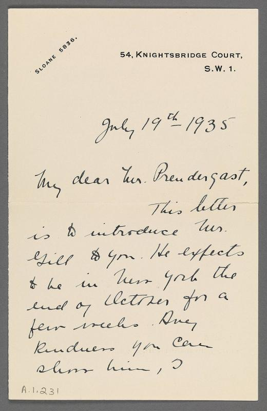Letter from Dorothy Darvell to Charles Prendergast (54, Knightsbridge Court, S.W. [London])