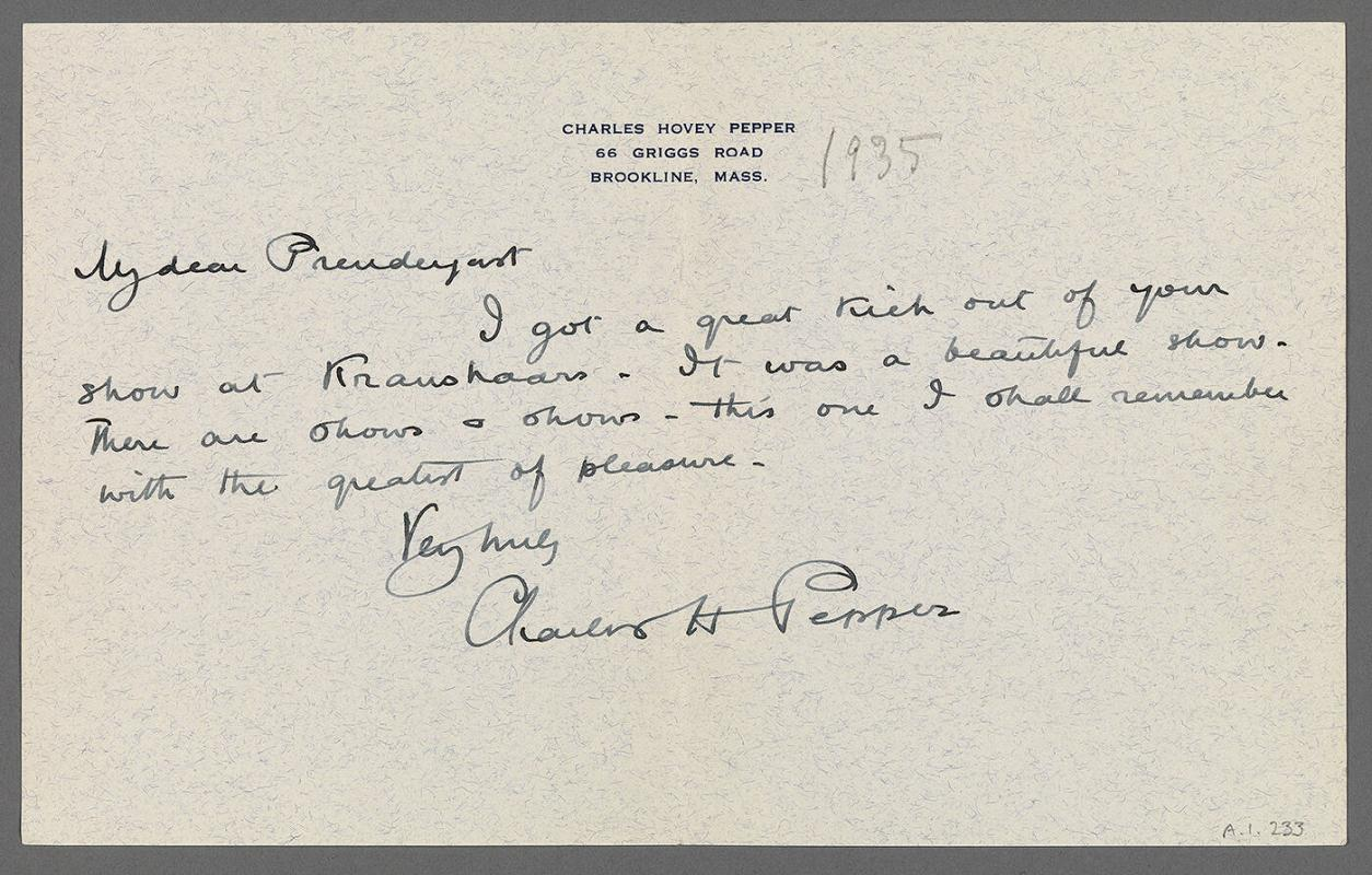 Letter from Charles Hovey Pepper to Charles Prendergast (66 Griggs Road,/ Brookline, Mass.)