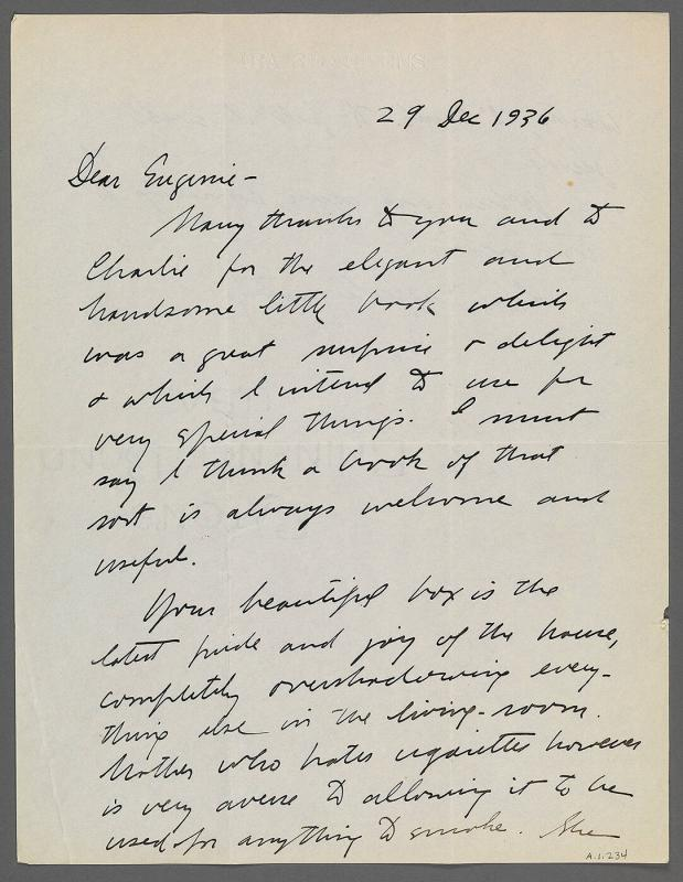 Letter from Ira Glackens to Eugénie Prendergast (location unknown)