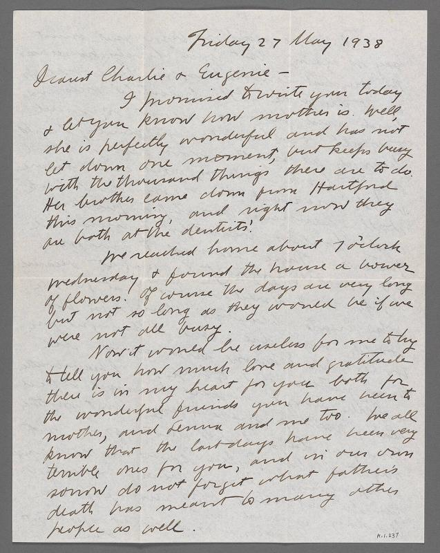 Letter from Ira Glackens to Mr. and Mrs. Charles Prendergast (New York)