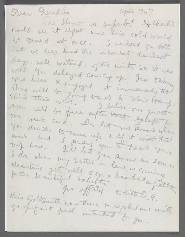 Letter from Edith Glackens to Mr. and Mrs. Charles Prendergast (New York City)