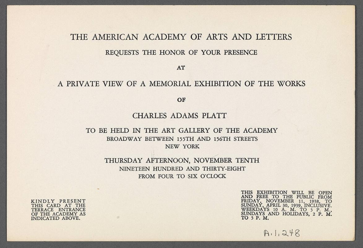 Invitation for private viewing of memorial exhibition of works of Charles Adams Platt