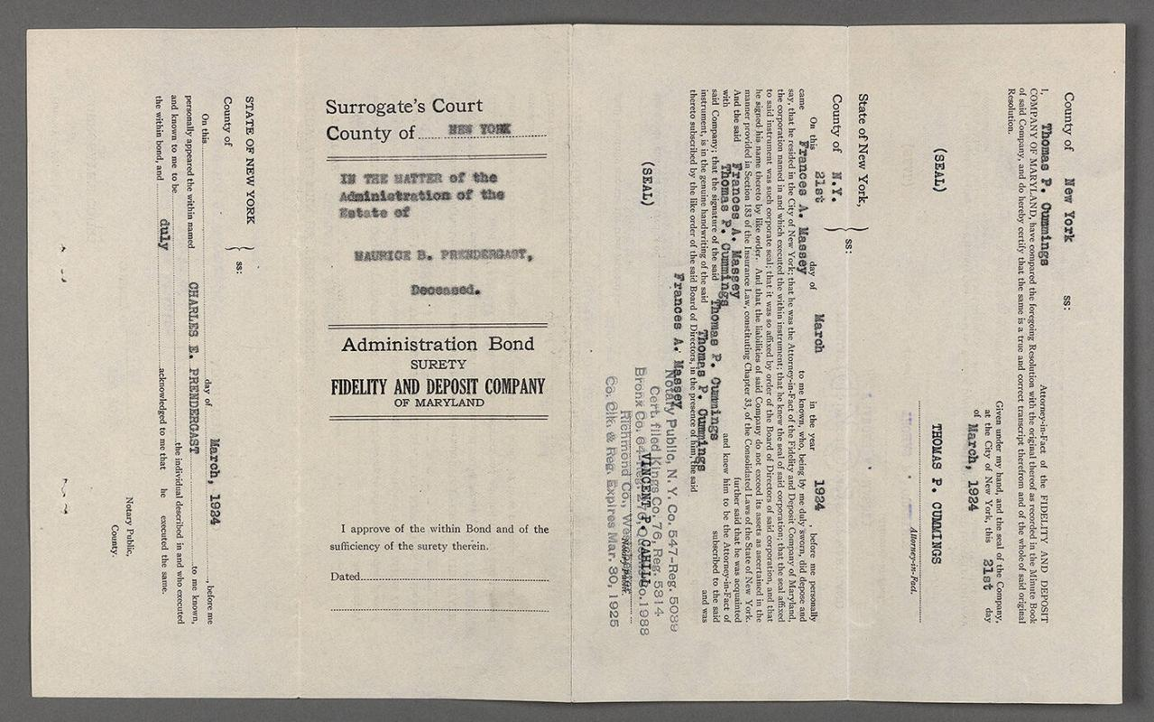 Administration bond for estate of Maurice Prendergast