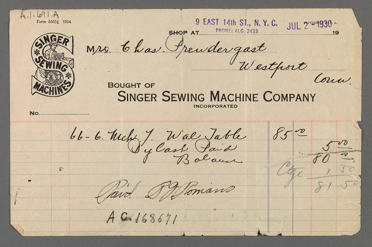 Bill for Singer Sewing Machine