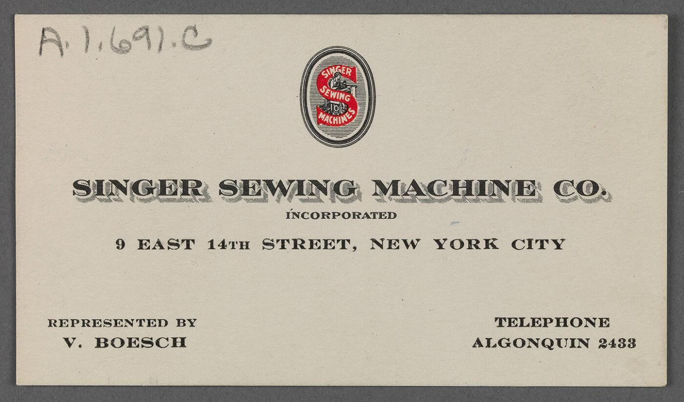Business card for Singer Sewing Machine Co.