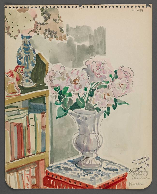 Watercolor with vase of flowers and bookcase with mailing envelope (Porch Crooked Mile Road)