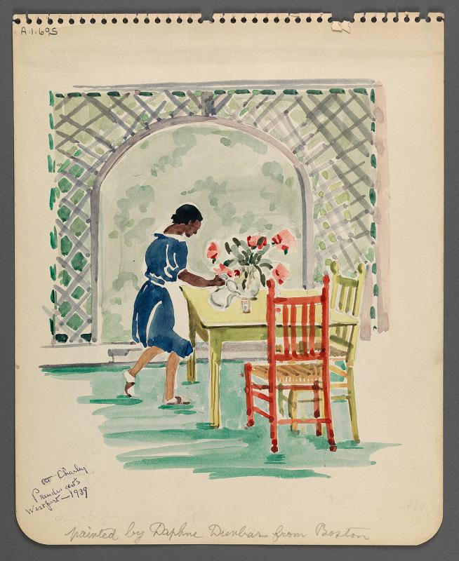 Watercolor (Maid Watering Flowers) with envelope