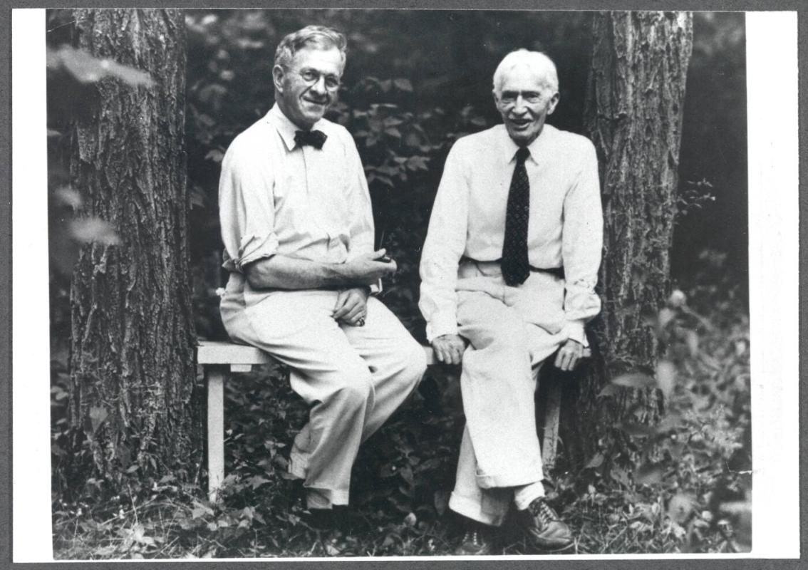 Series of Charles Prendergast and M.D.C. Crawford in garden at Crooked Mile Road, Westport, CT; (L to R) M.D.C. Crawford, Charles Prendergast
