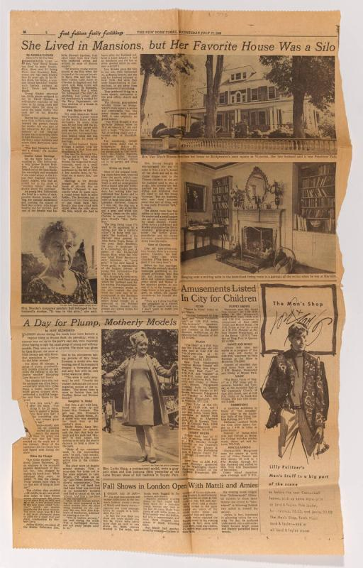 Newspaper clipping from New York Times about the Van Wyck Brooks house