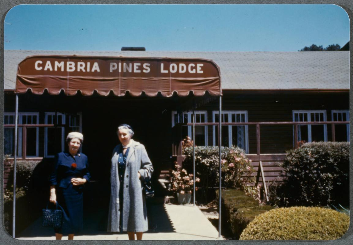 Eugénie Prendergast vacationing with friends; Eugénie Prendergast in front of Cambria Pines Lodge with a friend