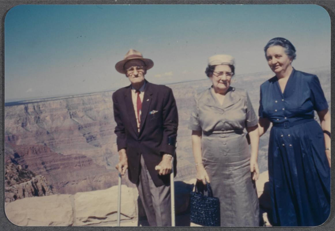 Eugénie Prendergast vacationing with friends; Eugénie Prendergast at a canyon with friends