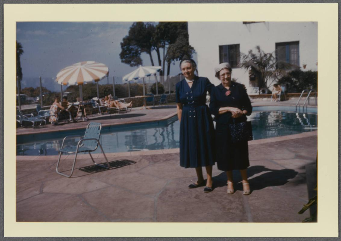 Eugénie Prendergast and friends in California (Los Angeles and Santa Barbara); Eugénie Prendergast with friend at pool