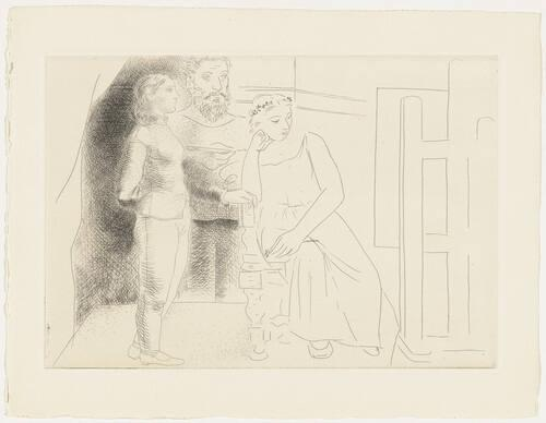 "Painter with Two Models Looking at a Canvas, plate II (from ""Le Chef-d'oeuvre inconnu"")"