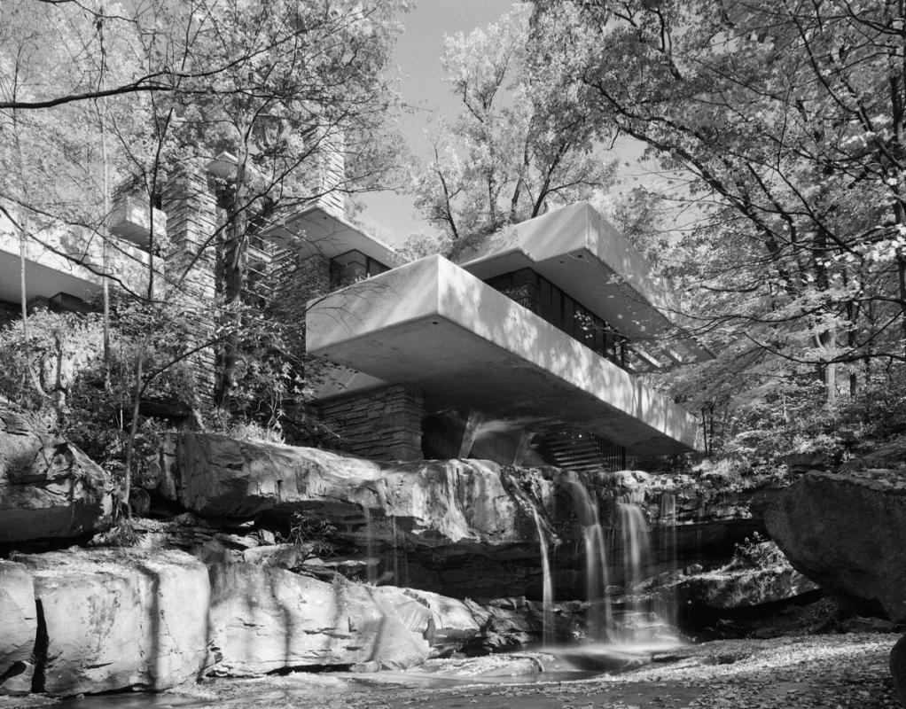 "Frank Lloyd Wright, Fallingwater (from ""Modern Architecture: Photographs by Ezra Stoller, Palm Press, Inc."")"