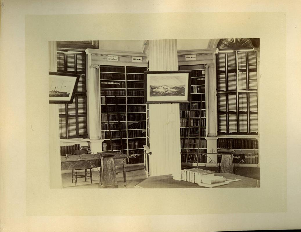 Interior of Lawrence Hall Library with Sermon Books