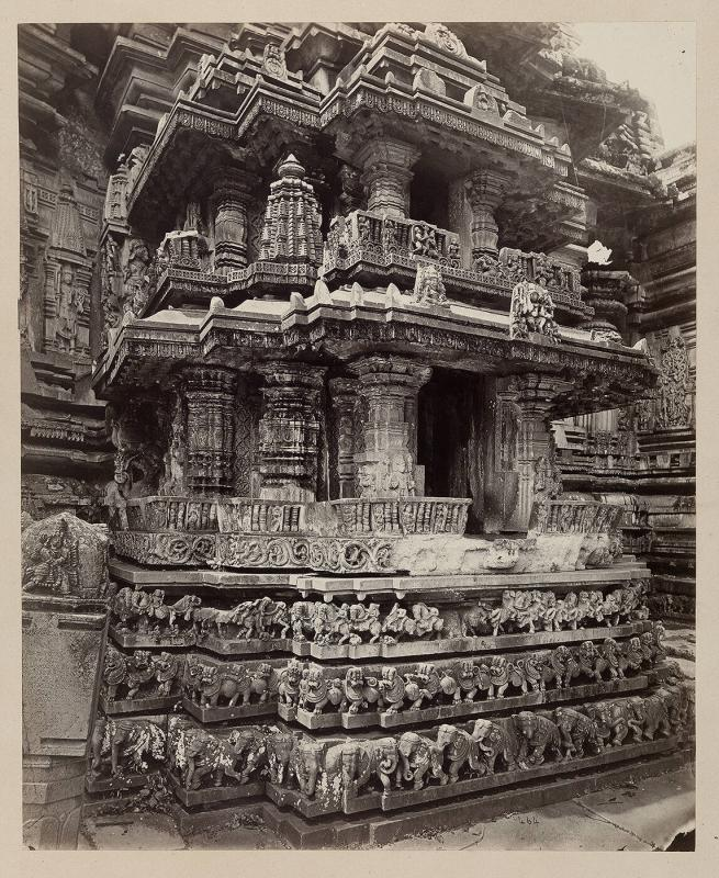 Views in Mysore: Bailoor Temple [Chennakeshava Temple, Belur]. Details of small shrine on base of tower