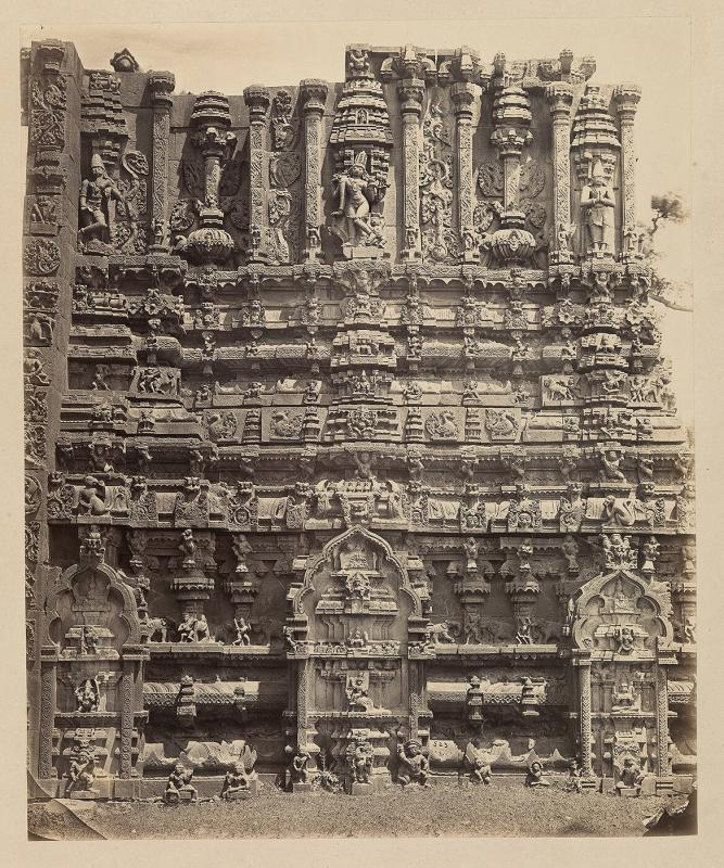 Tarputry [Tadpatri]: Temple in ruins near the river. Another portion of base of northern tower in detail