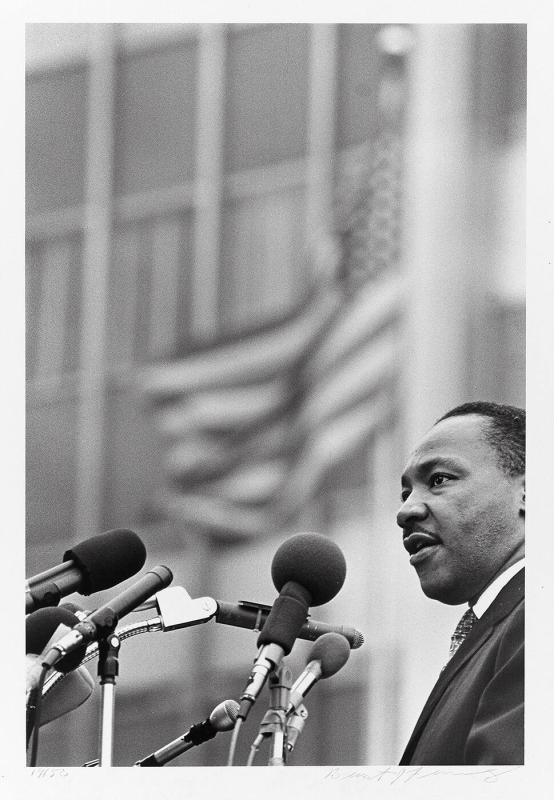 "Dr. Martin Luther King, Jr. addresses the crowd outside the United Nations, April 15, 1967 (from ""Countdown to Eternity"")"