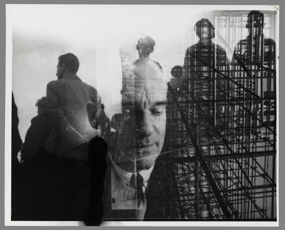 Untitled [head of man superimposed on group of figures and buildlings]
