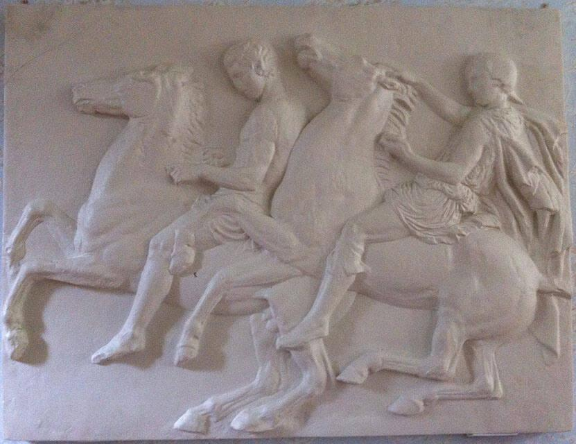 Cast of West Frieze, Slab X with figures on horseback from the Elgin Marble Series, the Parthenon, Athens, Greece