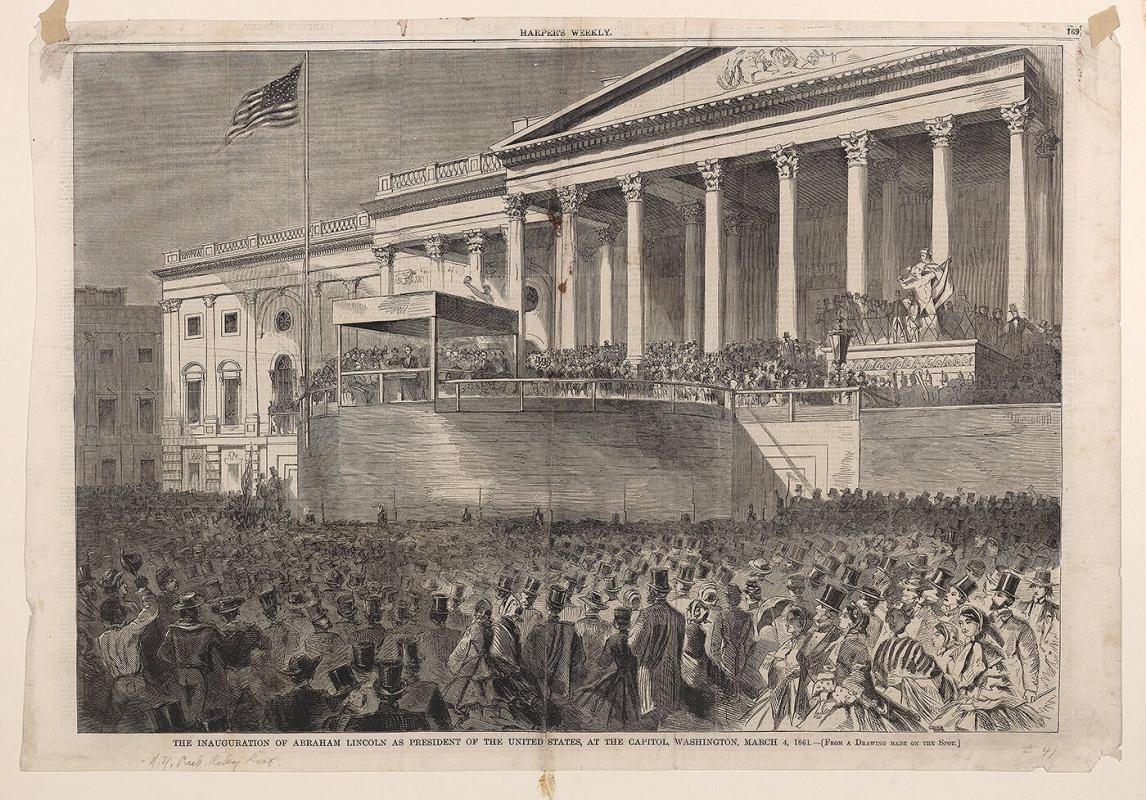 Inauguration of Abraham Lincoln as President of the United States, at the Capitol, Washington March 4, 1861