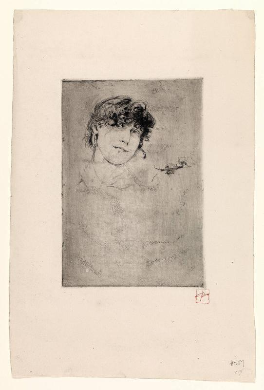 Unfinished Plate with Head of a Girl