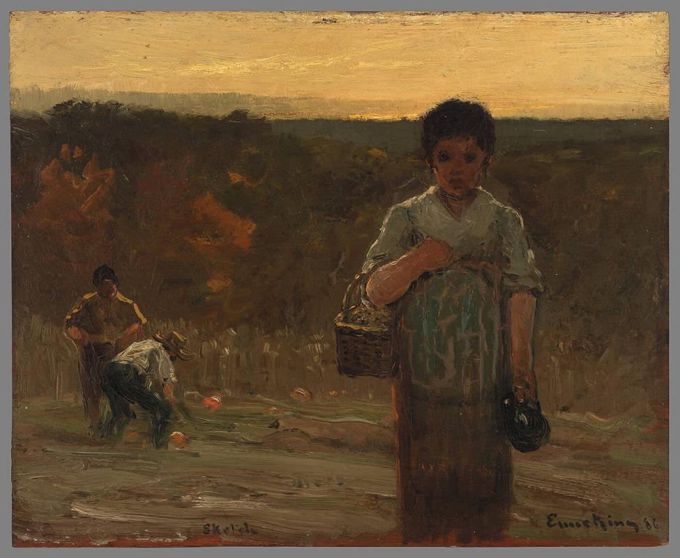 Three Figures with Pumpkin Harvest