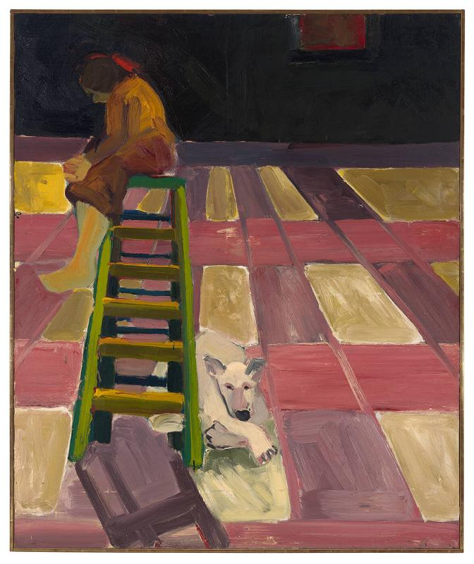 Dog and Lady on Ladder in One Point Perspective Room