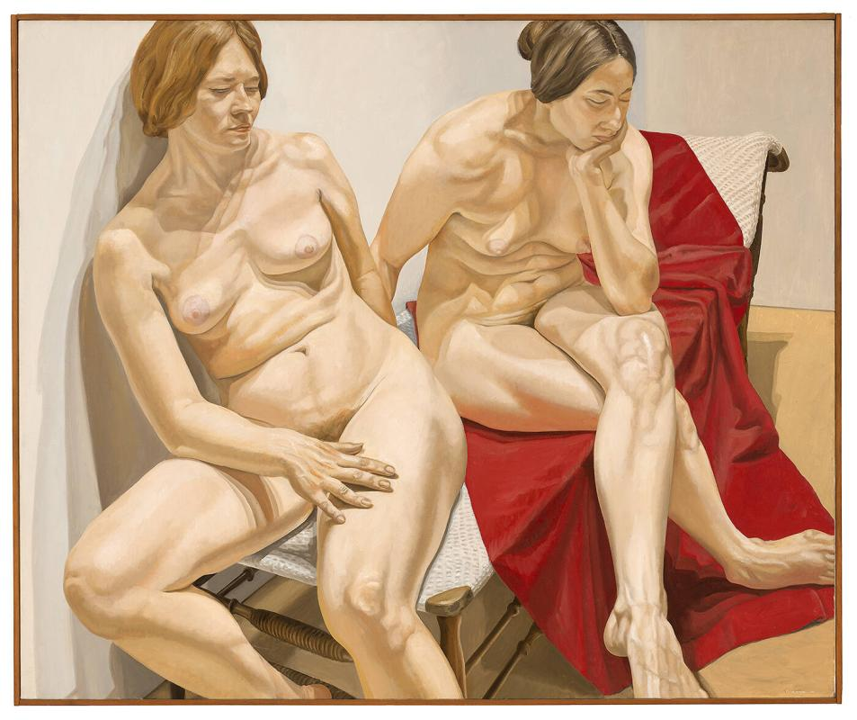 Two Female Nudes with Red Drape