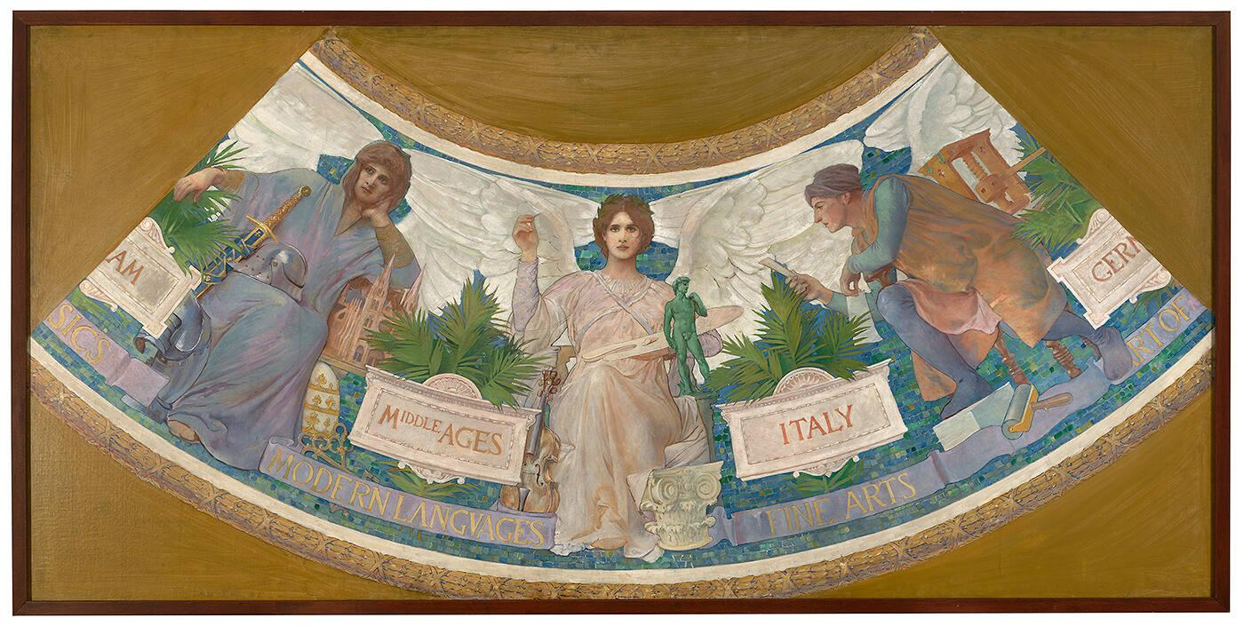 "Study for the Library of Congress Mural, ""The Progress of Civilization: Middle Ages, Italy, Germany"""