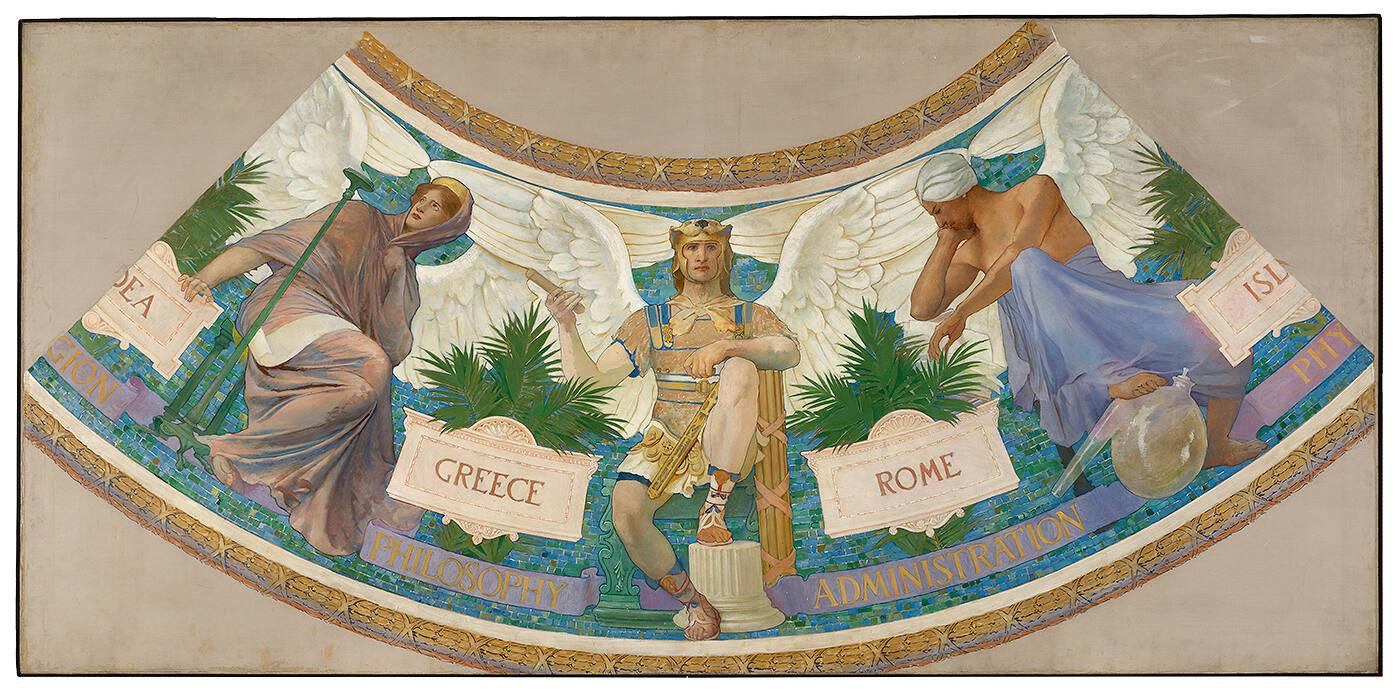 "Study for the Library of Congress Mural, ""The Progress of Civilization: Greece, Rome, Islam"""